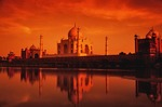 Taj Mahal reflecting in Yamuna River