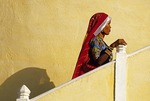 Shekhawati woman folk dancer on staircase