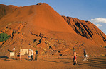 Uluru (Ayers Rock), sacred aboriginal site with tourists