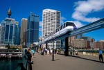 Sydney's Darling Harbour with monorail on Pyrmont Bridge