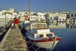 Paros fishing boats in inner harbor of town of Naoussa