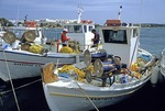 Antiparos fishing boats in harbor