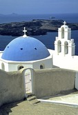 Santorini's Kimis Theotokov Greek Orthodox Church in Fira (Thira)