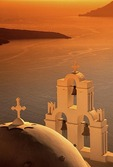 Santorini's Kimis Theotokov Greek Orthodox Church in Fira (Thira) at sunset
