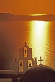 Santorini's Kimis Theotokov Greek Orthodox Church in Fira at sunset