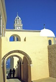 Santorini archways at Greek Orthodox church in Fira (Thira)