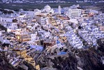 Santorini town of Fira (Thira) in the evening