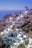 Santorini town of Oia on north end of the Greek island.