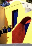 Santorini colorful house in town of Oia