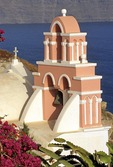 Santorini Greek Orthodox church bell tower in Oia