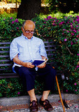 Taormina, elderly Sicilian man reading on park bench
