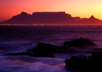 Cape Town's lights across Table Bay at dusk as seen from Blouberstrand