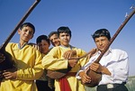 Turkmen students with musical instruments