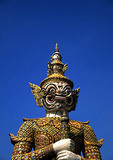 Bangkok's Demon Yaksha statue guarding Wat Pra Keo on grounds of the Grand Palace