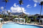 Nevis'  Four Seasons Resort pool with Nevis Peak in distance