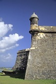 Old San Juan's El Morro Fort (Castillo de San Felipe del Morro), sentry box (garita) on corner of Austria Bastion wall