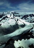 New Zealand's Southern Alps, alpine glacier north of Mount Cook
