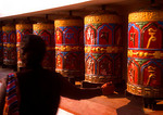"Kathmandu's Swayambhunath Pagoda (aka ""Monkey Temple"") prayer wheels"