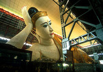 Yangon's 230-foot long reclining Buddha at Kyauk Htat Gyi Pagoda