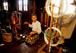 Inle Lake elderly spinner at Phaw Khon silk weaving workshop