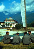 Students with Puankha monastery in background