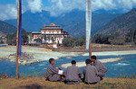 Students with Punahka monastery in background