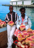 Nassau conch vendors on the docks
