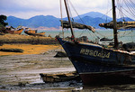 Xiamen fishing boats on Gulangyu Island at low tide