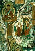 Dunhuang's Mogao Grottoes, Sakyamuni's Visit Home, Tang dynasty mural