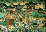 Dunhuang's Mogao Grottoes mural of Skayamuni Buddha's visit home