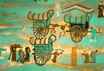 Dunhuang's Mogao Grottoes Cave #217 early Tang dynasty mural of Carts in the City along the Silk Road