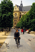 Parisian bicyclist at Saint Eustache church
