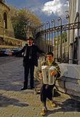 Montmartre Parisian street musician and singer outside Sacre Couer