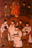 Former Confucian scholars at imperial court, silk painting scroll from Ming dynasty (1368-1644)