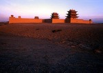 Great Wall's western end, fort at Jiayuguan