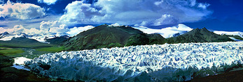 Qinghai glacier source of Yangtze River at Mount Geladandong (Tanggulasha Mountains)