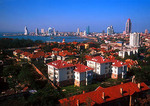 Qingdao view toward city from seaside neighborhood