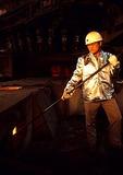 Shanghai's Baoshan Iron & Steel Company (Baosteel) foundry worker