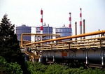 Shanghai's Baoshan Iron & Steel Company (Baosteel) gas storage tanks