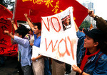 Shanghai students demonstrating against war in 1999 after bombing of Chinese embassy in Belgrade by NATO