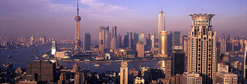 Shanghai panorama from central city looking toward the Huangpu River and Pudong