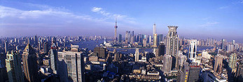 Shanghai panorama from central city looking east toward Pudong