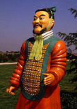 Painted terra cotta warrior replica at tomb of Qin Shihuangdi (Qin Shi Huang Di Museum)