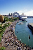 Sydney's Circular Quay with Harbour Bridge and cruise ship