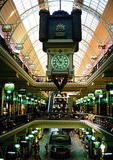 Sydney's Queen Victoria Building (1898) on George Street, interior view with hanging clock
