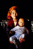 Lake Inle village young tribal mother with baby