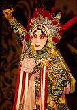Beijing (Peking) Opera performer on stage at Liyuan Theater in the Qianmen Hotel