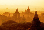 Bagan dawn over ancient holy temples on Bagan Plains