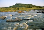 Isandlwana Mountain from Buffalo River site of 1879 battle in Anglo-Zulu War KwaZulu-Natal South Africa