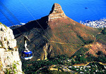 Table Mountain cable car with Lions Head peak in Cape Town